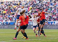 HARRISON, NJ - MARCH 08: Julie Ertz #8 of the United States heads the ball during a game between Spain and USWNT at Red Bull Arena on March 08, 2020 in Harrison, New Jersey.