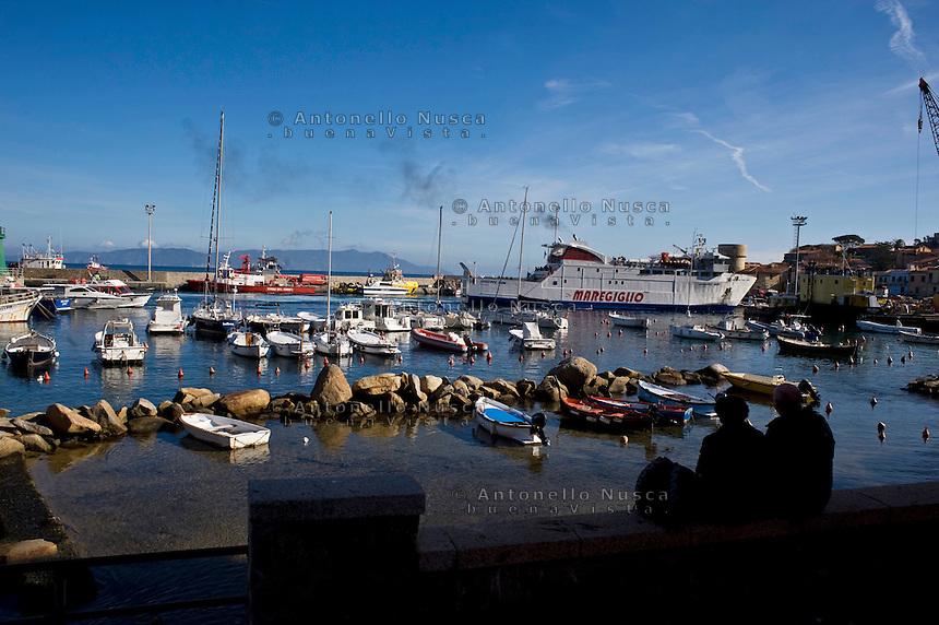 Isola del Giglio, Italy, January 17, 2012. The harbor of Isola del Giglio.