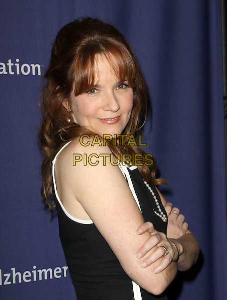 "LEA THOMPSON.18Th Annual ""A Night at Sardi's"" Benefitting The Alzheimer's Association held At The Beverly Hilton Hotel, Beverly Hills, California, USA..March 18th, 2010.half length black white dress pearl necklace arms crossed .CAP/ADM/KB.©Kevan Brooks/AdMedia/Capital Pictures."