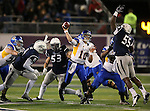 Nevada's Rykeem Yates tries to block a pass from San Jose State's David Fales in an NCAA college football game in Reno, Nev., on Saturday, Nov. 16, 2013. (AP Photo/Cathleen Allison)