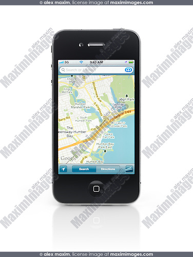 Apple iPhone 4 smartphone with google maps gps app on its display isolated with clipping path on white background. High quality photo.