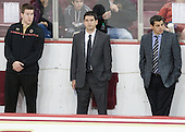 Kevin Pratt (BC - Student Manager), Mike Ayers (BC - Assistant Coach), Marty McInnis (BC - Assistant Coach) - The Boston College Eagles defeated the visiting St. Francis Xavier University X-Men 8-2 in an exhibition game on Sunday, October 6, 2013, at Kelley Rink in Conte Forum in Chestnut Hill, Massachusetts.