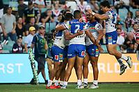 The Warriors celebrate the Ken Maumalo try. Sydney Roosters v Vodafone Warriors, NRL Rugby League. Allianz Stadium, Sydney, Australia. 31st March 2018. Copyright Photo: David Neilson / www.photosport.nz