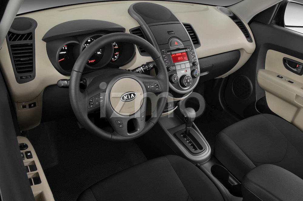 High angle dashboard view of a 2010 Kia Soul!