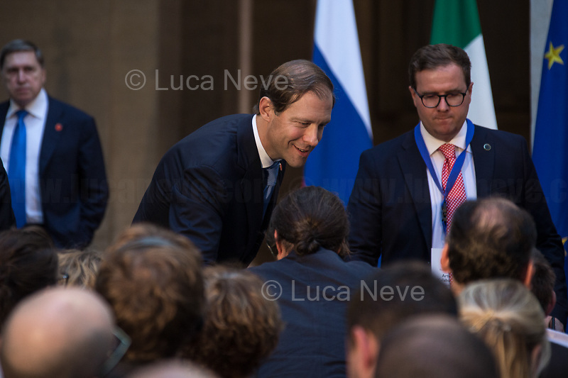 Denis Manturov (Minister of Industry and Trade of the Russian Federation). <br /> <br /> Russian Delegation.<br /> <br /> Rome, 04/07/2019. Today, the four-time President of the Russian Federation, Vladimir Putin, visited Palazzo Chigi (Official Residence of the Italian Prime Minister and official meeting place of the Council of the Ministers) where he had a private meeting and a press conference with the Italian Prime Minister, Giuseppe Conte. During his visit to Italy, President Putin met Pope Francis, the President of the Italian Republic, Sergio Mattarella, and his old friend and Italian politician, Silvio Berlusconi.   <br /> <br /> Footnotes and Links:<br /> For a Video of the Press Conference please click here (Source, Palazzo Chigi on Youtube): https://youtu.be/4Bdssi0L9PI