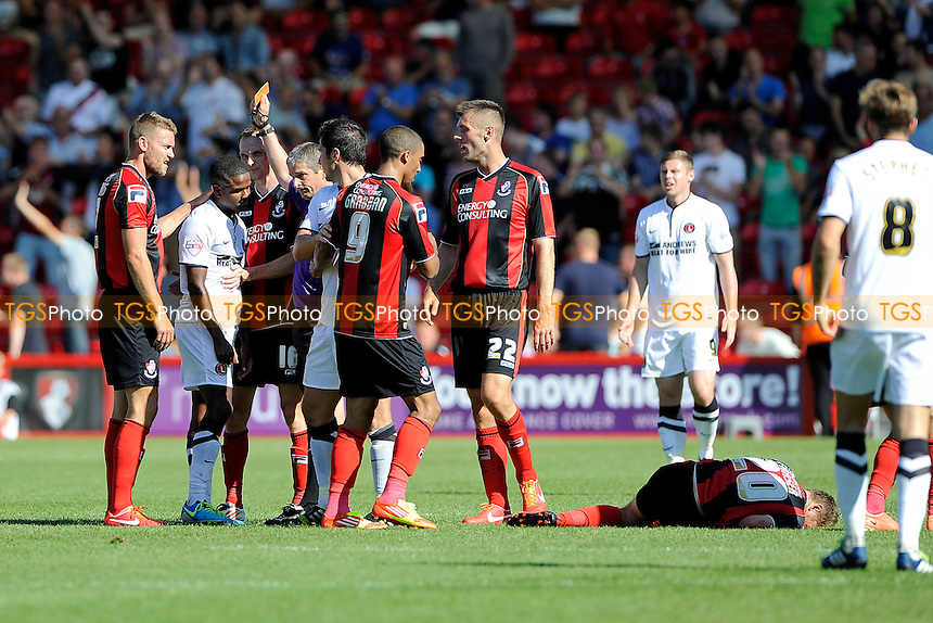 Bradley Pritchard of Charlton Athletic gets the red card for a bad tackle on Ryan Fraser of AFC Bournemouth - AFC Bournemouth vs Charlton Athletic - Sky Bet Championship Football at the Goldsands Stadium, Bournemouth, Dorset - 03/08/13 - MANDATORY CREDIT: Denis Murphy/TGSPHOTO - Self billing applies where appropriate - 0845 094 6026 - contact@tgsphoto.co.uk - NO UNPAID USE