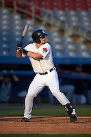 Connecticut Tigers first baseman Will Allen (46) at bat during the first game of a doubleheader against the Brooklyn Cyclones on September 2, 2015 at Senator Thomas J. Dodd Memorial Stadium in Norwich, Connecticut.  Brooklyn defeated Connecticut 7-1.  (Mike Janes/Four Seam Images)