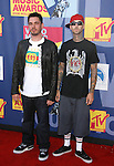 LOS ANGELES, CA. - September 07: DJ AM (L) and musician Travis Barker  arrive at the 2008 MTV Video Music Awards at Paramount Pictures Studios on September 7, 2008 in Los Angeles, California.