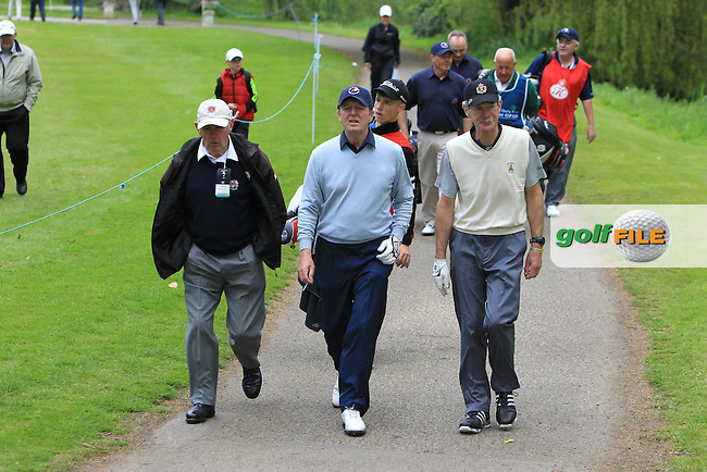 Des Smyth (IRL) and Dick Spring (AM) at the 17th tee during Wednesday's Pro-Am round of the Dubai Duty Free Irish Open presented  by the Rory Foundation at The K Club, Straffan, Co. Kildare<br /> Picture: Golffile | Thos Caffrey<br /> <br /> All photo usage must carry mandatory copyright credit <br /> (&copy; Golffile | Thos Caffrey)