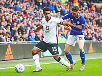 12th January 2020; Cardiff City Stadium, Cardiff, Glamorgan, Wales; English Championship Football, Cardiff City versus Swansea City; Wayne Routledge of Swansea City holds off the challenge from Gavin Whyte of Cardiff City - Strictly Editorial Use Only. No use with unauthorized audio, video, data, fixture lists, club/league logos or 'live' services. Online in-match use limited to 120 images, no video emulation. No use in betting, games or single club/league/player publications