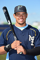 Myrtle Beach Pelicans catcher Jorge Alfaro (24) poses for a photo after a game against the Wilmington Blue Rocks on April 27, 2014 at Frawley Stadium in Wilmington, Delaware.  Myrtle Beach defeated Wilmington 5-2.  (Mike Janes/Four Seam Images)