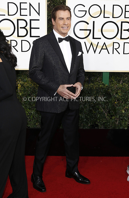 www.acepixs.com<br /> <br /> January 8 2017, LA<br /> <br /> John Travolta arriving at the 74th Annual Golden Globe Awards at the Beverly Hilton Hotel on January 8, 2017 in Beverly Hills, California.<br /> <br /> By Line: Famous/ACE Pictures<br /> <br /> <br /> ACE Pictures Inc<br /> Tel: 6467670430<br /> Email: info@acepixs.com<br /> www.acepixs.com