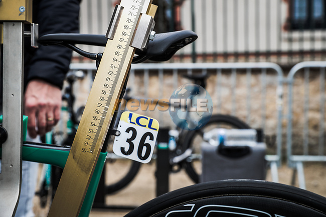 UCI check bike measurements before the start of Stage 4 of the 78th edition of Paris-Nice 2020, and individual time trial running 15.1km around Saint-Amand-Montrond, France. 11th March 2020.<br /> Picture: ASO/Fabien Boukla | Cyclefile<br /> All photos usage must carry mandatory copyright credit (© Cyclefile | ASO/Fabien Boukla)