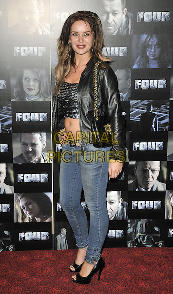 Kierston Wareing.UK premiere of 'Four' at The Empire Cinema - Arrivals, London, England..October 10th, 2011.full length black leather jacket sequins sequined top belly stomach midriff cropped jeans denim side.CAP/CAN.©Can Nguyen/Capital Pictures.