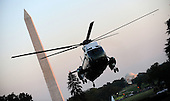 Marine 1 carrying United States President Barack Obama, First Lady Michelle Obama and their daughters Malia and Sasha arrives Sunday, August 29, 2010 to the White House in Washington, DC.  The First Family completed their 10-day vacation on Martha's Vineyard and spent Sunday in Louisiana..Credit: Olivier Douliery / Pool via CNP