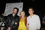All My Children Kelli Giddish poses with OLTL Nathaniel Marston & Lenny Platt - Stars of Daytime and Prime Time Television and Broadway bartend to benefit Stockings with Care 2011 Holiday Drive  - Celebrity Bartending Event with Silent Auction & Raffle on November 16, 2011 at the Hudson Station Bar & Grill, New York City, New York. For more information - www.stockingswithcare.org.  (Photo by Sue Coflin/Max Photos)