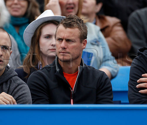 18.06.2016. Queens Club, London, England. Aegon Queens Tennis Championships Day Six. Four-time Queen's winner Lleyton Hewitt supporting fellow Aussie Bernard Tomic (AUS) in his semi final match against Milos Raonic (CAN). Raonic won in straight sets 6-4, 6-4 and meets Andy Murray (GBR) in tomorrow's final.
