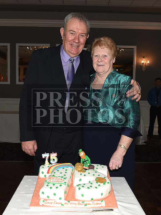 Andrew McGuirk celebrating his 75th birthday in The Westcourt hotel with his wife Ann. Photo:Colin Bell/pressphotos.ie