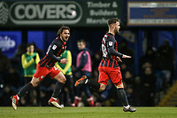 Blackburn Rovers' Adam Armstrong celebrates scoring his side's first goal as team mate Bradley Dack looks on <br /> <br /> Photographer Andrew Kearns/CameraSport<br /> <br /> The EFL Sky Bet League One - Portsmouth v Blackburn Rovers - Tuesday 13th February 2018 - Fratton Park - Portsmouth<br /> <br /> World Copyright &copy; 2018 CameraSport. All rights reserved. 43 Linden Ave. Countesthorpe. Leicester. England. LE8 5PG - Tel: +44 (0) 116 277 4147 - admin@camerasport.com - www.camerasport.com