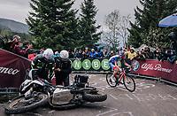 Sebastien Reichenbach (SUI/Groupama - FDJ) avoiding a crashed moto up the infamous Monte Zoncolan (1735m/11%/10km)<br /> <br /> stage 14 San Vito al Tagliamento &ndash; Monte Zoncolan (186 km)<br /> 101th Giro d'Italia 2018