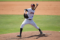 Kannapolis Intimidators relief pitcher Kevin Escorcia (5) in action against the West Virginia Power at Kannapolis Intimidators Stadium on June 18, 2017 in Kannapolis, North Carolina.  The Intimidators defeated the Power 5-3 to win the South Atlantic League Northern Division first half title.  It is the first trip to the playoffs for the Intimidators since 2009.  (Brian Westerholt/Four Seam Images)