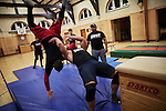 BERLIN 12.2016. German Wrestler RAMBO MICHEL BRAUN alias EL COMANDANTE RAMBO during training at GWF Wrestling School in Berlin Neukölln.<br /><br />Other trainers are: Crazy Sexy mike (Hussein Chaer, man with headband) and Ahmed Chaer (man with beard) (Photo by Gregor Zielke)