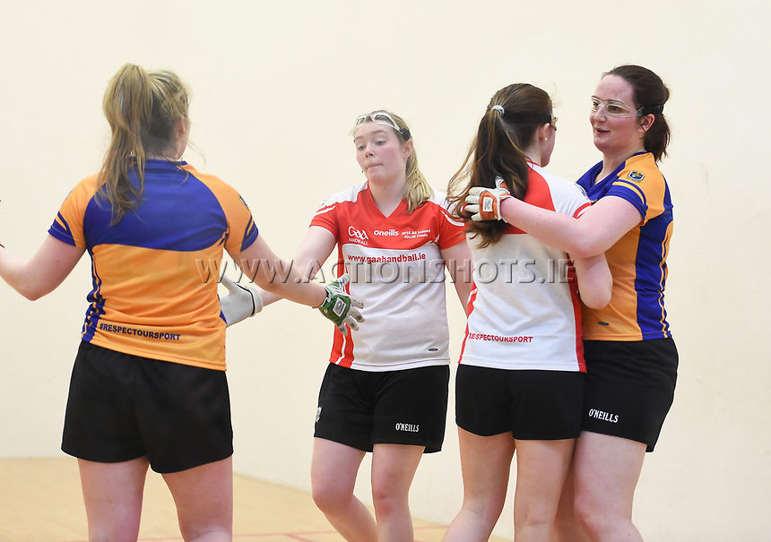 07/04/2018; GAA Handball O&rsquo;Neills 40x20 Championship Ladies Senior Final - Cork (Catriona Casey/Aisling O&rsquo;Keeffe) v Roscommon (Fiona Tully/Leona Doolin); Kingscourt, Co Cavan;<br /> The players shake hands at the end of the match.<br /> Photo Credit: actionshots.ie/Tommy Grealy