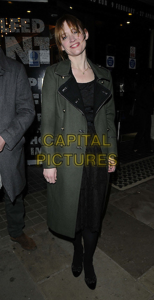 "Anne-Marie Duff.attended the ""Macbeth"" press night performance, Trafalgar Studios, Whitehall, London, England, UK, February 22nd 2013..full length green khaki coat black dress shoes tights .CAP/CAN.©Can Nguyen/Capital Pictures."