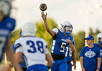 NWA Democrat-Gazette/BEN GOFF @NWABENGOFF<br /> Hunter Loyd, Rogers sophomore quarterback, throws a pass Friday, Aug. 11, 2017, during Rogers practice at Whitey Smith Stadium in Rogers.