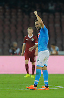 Gonzalo Higuain   celebrates after scores  during theEuropa League   soccer match between SSC Napoli and Sparta Praha  at  the San Paolo   stadium in Naples  Italy , september 18 , 2014