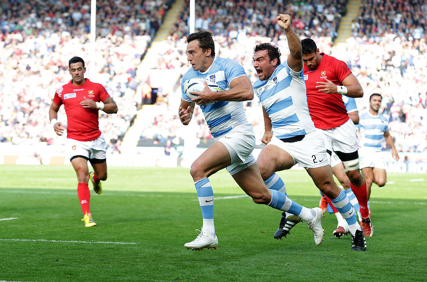 Argentina's Juan Imhoff crosses the line for his sides second try as team-mate Agustin Creevy celebrates<br /> <br /> Photographer Stephen White/CameraSport<br /> <br /> Rugby Union - 2015 Rugby World Cup Pool C - Argentina v Tonga - Sunday 4th October 2015 - King Power Stadium - Leicester <br /> <br /> &copy; CameraSport - 43 Linden Ave. Countesthorpe. Leicester. England. LE8 5PG - Tel: +44 (0) 116 277 4147 - admin@camerasport.com - www.camerasport.com