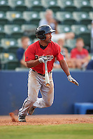 Birmingham Barons second baseman Marcus Lemon (2) at bat during a game against the Biloxi Shuckers on May 24, 2015 at Joe Davis Stadium in Huntsville, Alabama.  Birmingham defeated Biloxi 6-4 as the Shuckers are playing all games on the road, or neutral sites like their former home in Huntsville, until the teams new stadium is completed.  (Mike Janes/Four Seam Images)