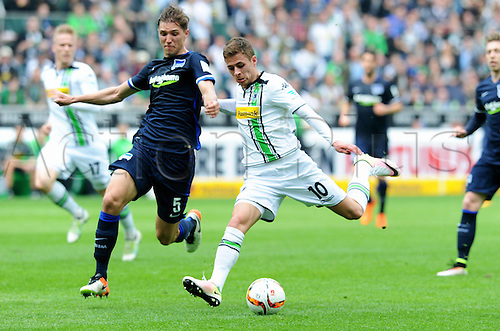 03.04.2016. Monchengladbach, Germany.  Bundesliga Football. Borussia Monchengladbach versus Hertha Berlin.  Thorgan Hazard Gladbach  shoots past Niklas Strong Hertha