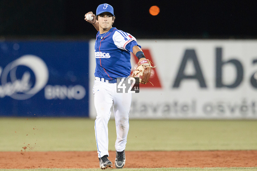 17 August 2010: Maxime Lefevre of Team France throws the ball to first base during the Czech Republic 4-3 win over France, at the 2010 European Championship, under 21, in Brno, Czech Republic.