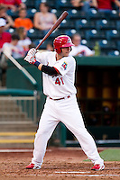 Jamie Romak (41) of the Springfield Cardinals at bat during a game against the Arkansas Travelers at Hammons Field on July 25, 2012 in Springfield, Missouri. (David Welker/Four Seam Images)