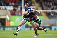 Max Wright of Bath Rugby is tackled by Kyle Eastmond of Leicester Tigers. Gallagher Premiership match, between Leicester Tigers and Bath Rugby on May 18, 2019 at Welford Road in Leicester, England. Photo by: Patrick Khachfe / Onside Images
