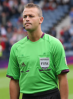 Men's Olympic Football match Honduras v Morocco on 26.7.12...Sven Oddvar Moen, Norway, Assistant Referee of the Honduras v Morocco Men's Olympic Football match at Hampden Park, Glasgow..........