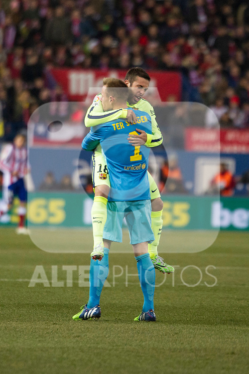 Barcelona´s Marc-Andre Ter Stegen and Jordi Alba during 2014-15 Spanish King Cup match between Atletico de Madrid and Barcelona at Vicente Calderon stadium in Madrid, Spain. January 28, 2015. (ALTERPHOTOS/Luis Fernandez)