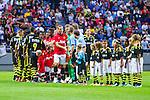 Solna 2013-08-06 Football Friendly Game , AIK - Manchester United FC :  <br /> Manchester United 15 Nemanja Vidic h&auml;lsar p&aring; domare Svein Oddvar Moen efter lineup inf&ouml;r matchen <br /> (Foto: Kenta J&ouml;nsson) Nyckelord: