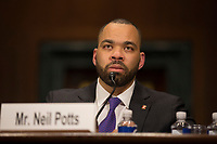 Neil Potts, the Public Policy Director at Facebook, testify before the United States Senate Committee on the Judiciary on Capitol Hill in Washington DC to discuss the stifling of free speech on social media on April 10, 2019.<br /> Credit: Stefani Reynolds / CNP/AdMedia