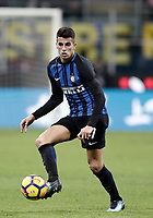 Calcio, Serie A: Inter - Roma, Milano, stadio Giuseppe Meazza (San Siro), 21 gennaio 2018.<br /> Inter's Joao Cancelo in action during the Italian Serie A football match between Inter Milan and AS Roma at Giuseppe Meazza (San Siro) stadium, January 21, 2018.<br /> UPDATE IMAGES PRESS/Isabella Bonotto