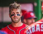 27 July 2013: Washington Nationals outfielder Bryce Harper smiles in the dugout during a game against the New York Mets at Nationals Park in Washington, DC. The Nationals defeated the Mets 4-1. Mandatory Credit: Ed Wolfstein Photo *** RAW (NEF) Image File Available ***