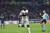 2nd November 2017, Nice, France; EUFA Europa League, Olympique Lyonnais versus Everton;  Joie de Bertrand Traore (lyon) celebrates as he scores the nights first goal for 1-0