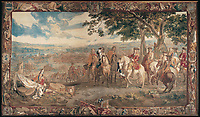 BNPS.co.uk (01202 558833)<br /> Pic: BlenheimPalace/BNPS<br /> <br /> The Battle of Blenheim tapestry shows Marshall Tallard (Centre) surrendering to Marlborough (White horse) as a Grenadier Guard furls the captured French Royal flag (right).<br /> <br /> Seat of Power - The First Duke of Marlborough&rsquo;s campaign chairs, upon which he sat to plot the downfall of the French King Louis XIV, are returning to Blenheim Palace following an 18-month restoration.<br />