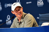 Rory McIlroy (NIR) during media interview during Tuesday's preview of the PGA Championship  at Quail Hollow in Charlotte, North Carolina. 8/8/2017.<br /> Picture: Golffile | Ken Murray<br /> <br /> <br /> All photo usage must carry mandatory copyright credit (&copy; Golffile | Ken Murray)