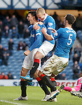 Haris Vuckic celebrates after he scores for Rangers