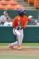 Junior outfielder Maleeke Gibson (1) of the Clemson Tigers in a fall practice intra-squad Orange-Purple scrimmage on Saturday, September 26, 2015, at Doug Kingsmore Stadium in Clemson, South Carolina. (Tom Priddy/Four Seam Images)
