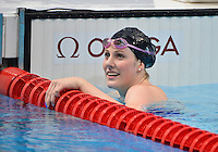 August 02, 2012..Missy Franklin looks towards the stands during pre race warm up at the Aquatics Center on day six of 2012 Olympic Games in London, United Kingdom.