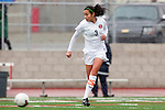 Palos Verdes, CA 01/26/10 - Megan Young (3) in action during the Mira Costa vs Palos Verdes Girls Varsity soccer game at Palos Verdes High School.