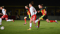 20161128 - TUBIZE ,  BELGIUM : Belgian Elien Van Wynendaele (R) and Danish Katrine Veje (L) pictured during the female soccer game between the Belgian Red Flames and Denmark , a friendly game before the European Championship in The Netherlands 2017  , Monday 28 th November 2016 at Stade Leburton in Tubize , Belgium. PHOTO SPORTPIX.BE | DIRK VUYLSTEKE